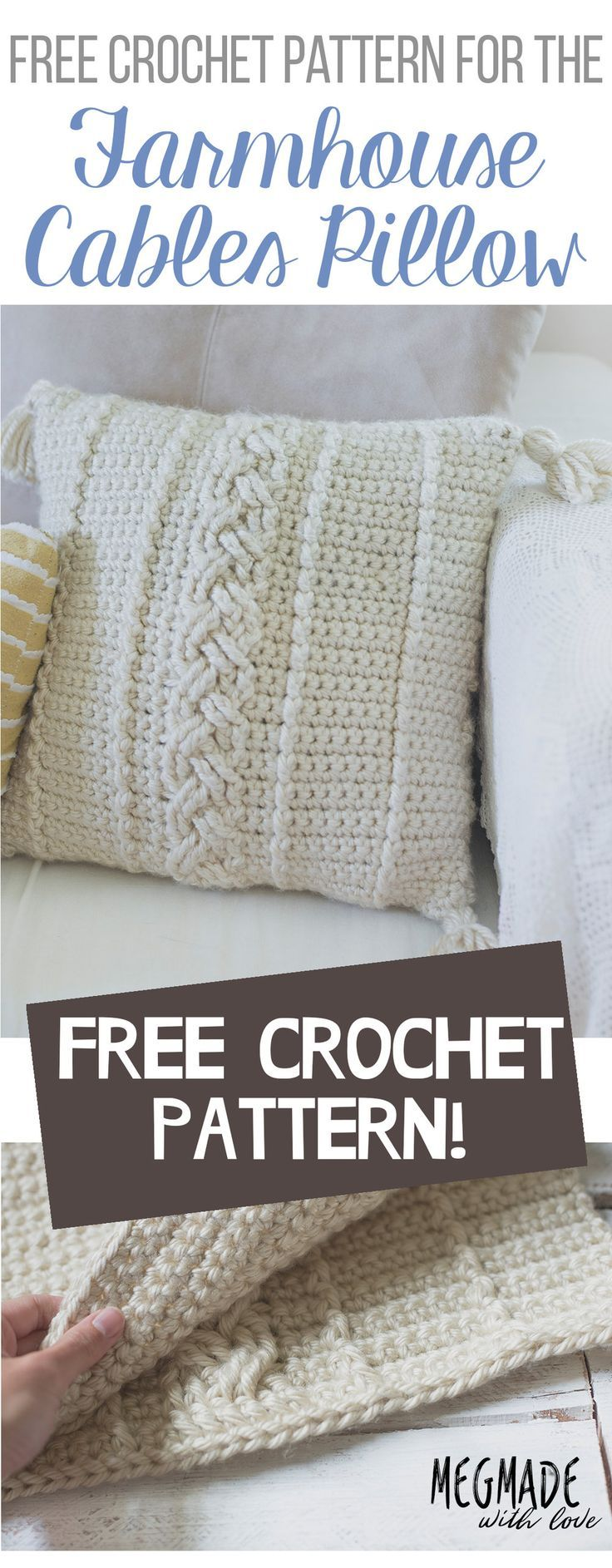 FREE Crochet Pattern for the Comfy Cables Farmhouse Pillow Cover ...