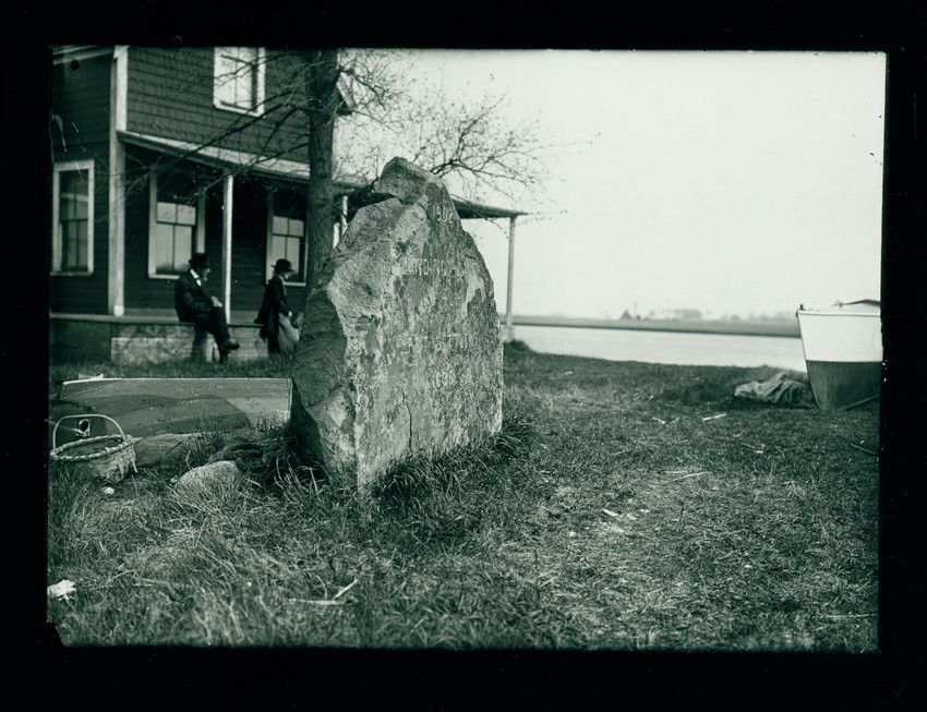 "Newbury, Mass. Stone inscribed ""Landing Place of the First Settlers 1635,"" undated 