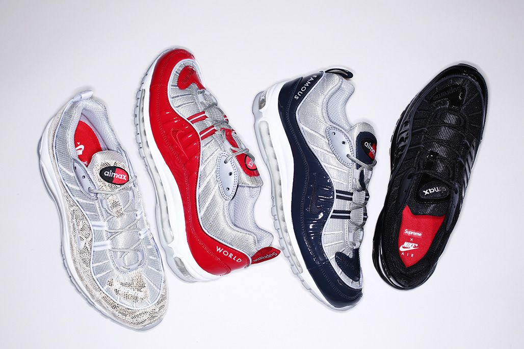 Les 4 coloris de la x collection Supreme x la Nike Air Max 98 © Supreme e7c685