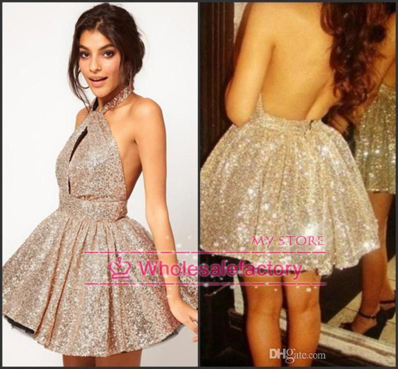 Sexy Backless Cocktail Dresses 2016 Silver Short Prom Dresses Halter High Neck Ball Gown Mini Skirt Sequins Party Gowns Bo3882 Cocktail White Dresses Corset Cocktail Dress From Wholesalefactory, $113.87  Dhgate.Com #cocktaildressideas #backlesscocktaildress