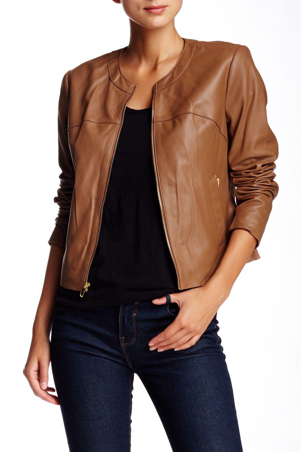 Via Spiga Collarless Leather Jacket Collarless leather