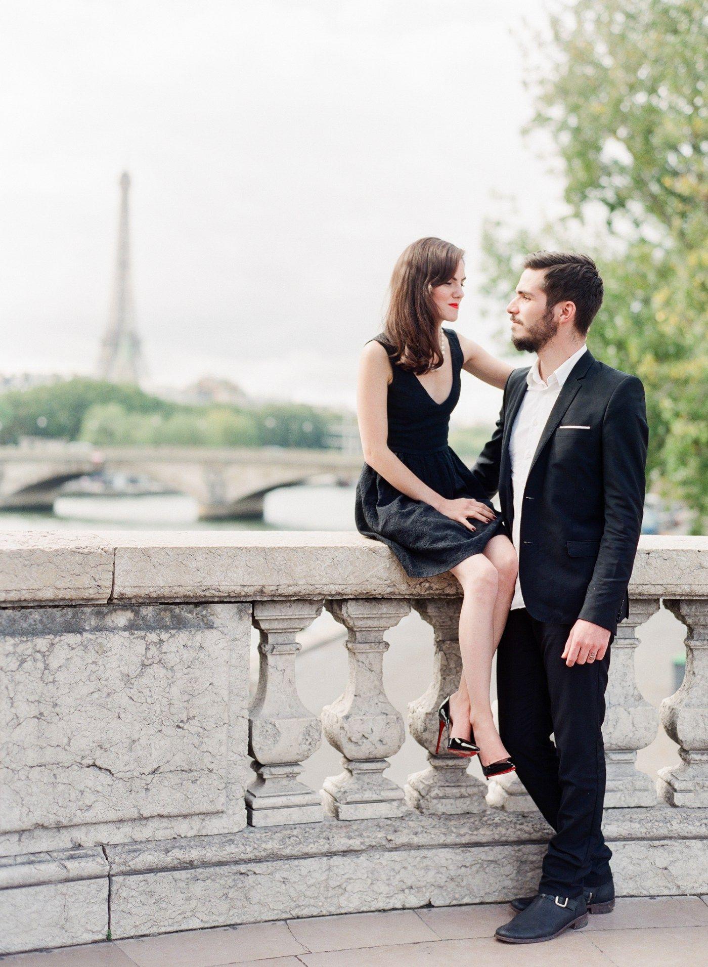 Black dress engagement photos - Engagement Paris Anniversary Session Pre Wedding Louboutin So Kate Little Black Dress Eiffel Tower Alexander Iii