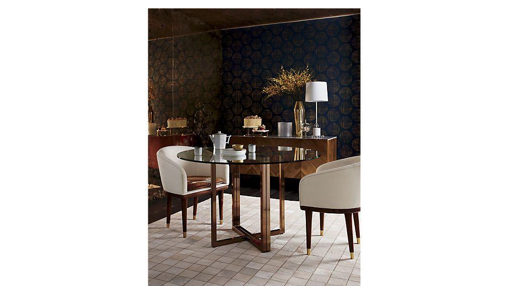 Silverado Brass 47 Round Dining Table Cowhide Chair Round