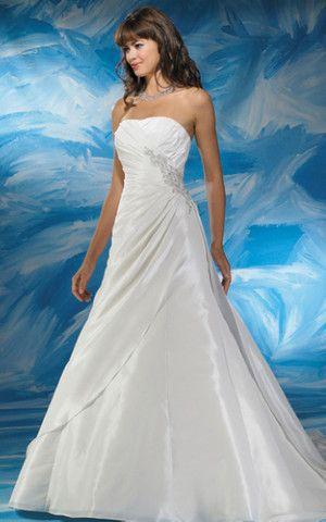 großes Bild 1 Natürliche Taile rückenfreies klassisches Brautkleid mit Falte Mieder mit Kapelle Schleppe