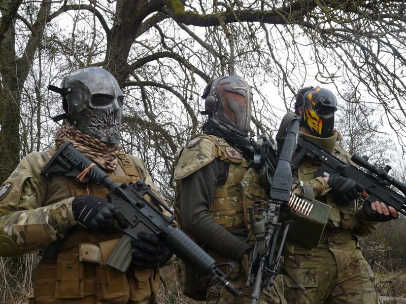 Soldiers wearing masks