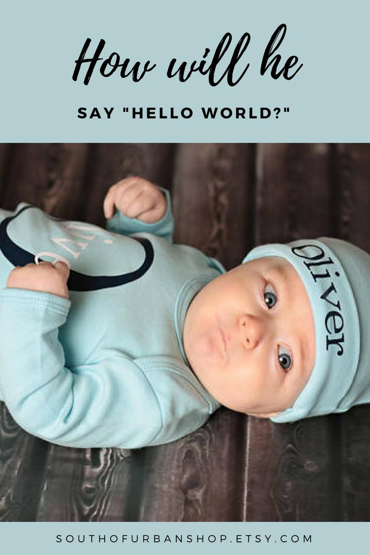 Hello World Gown-Blue Boy