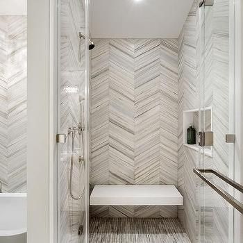 White And Gray Chevron Shower Tiles With Floating Shower Bench