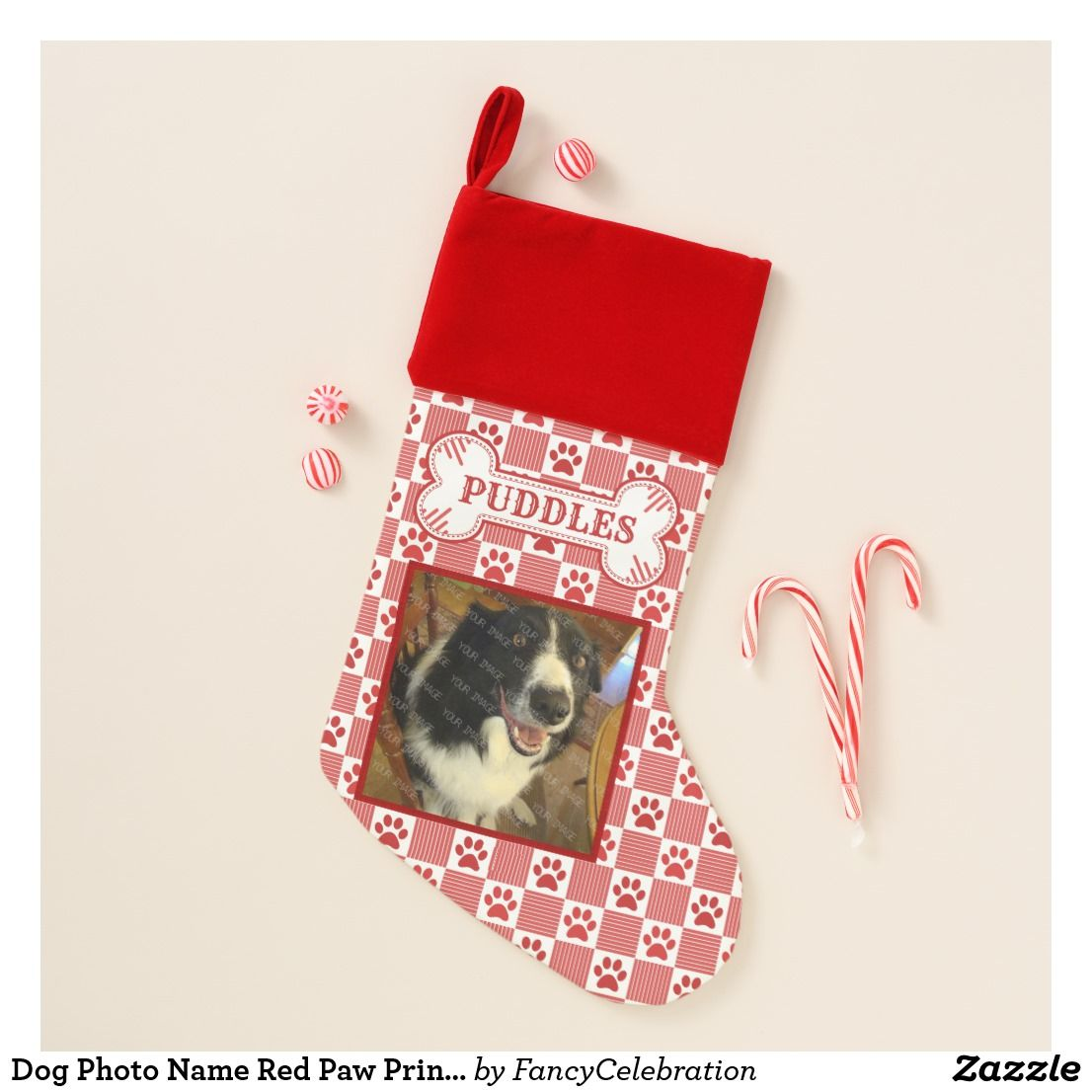 dog photo name red paw print gingham bone custom christmas