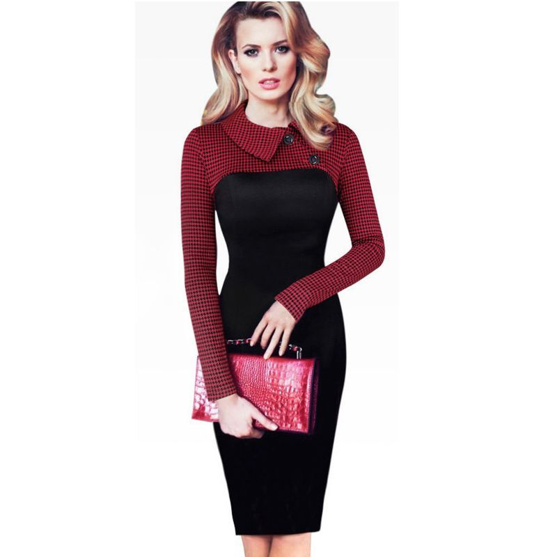 Vintage Long Sleeve Patchwork Office Plaid Pattern Bodycon