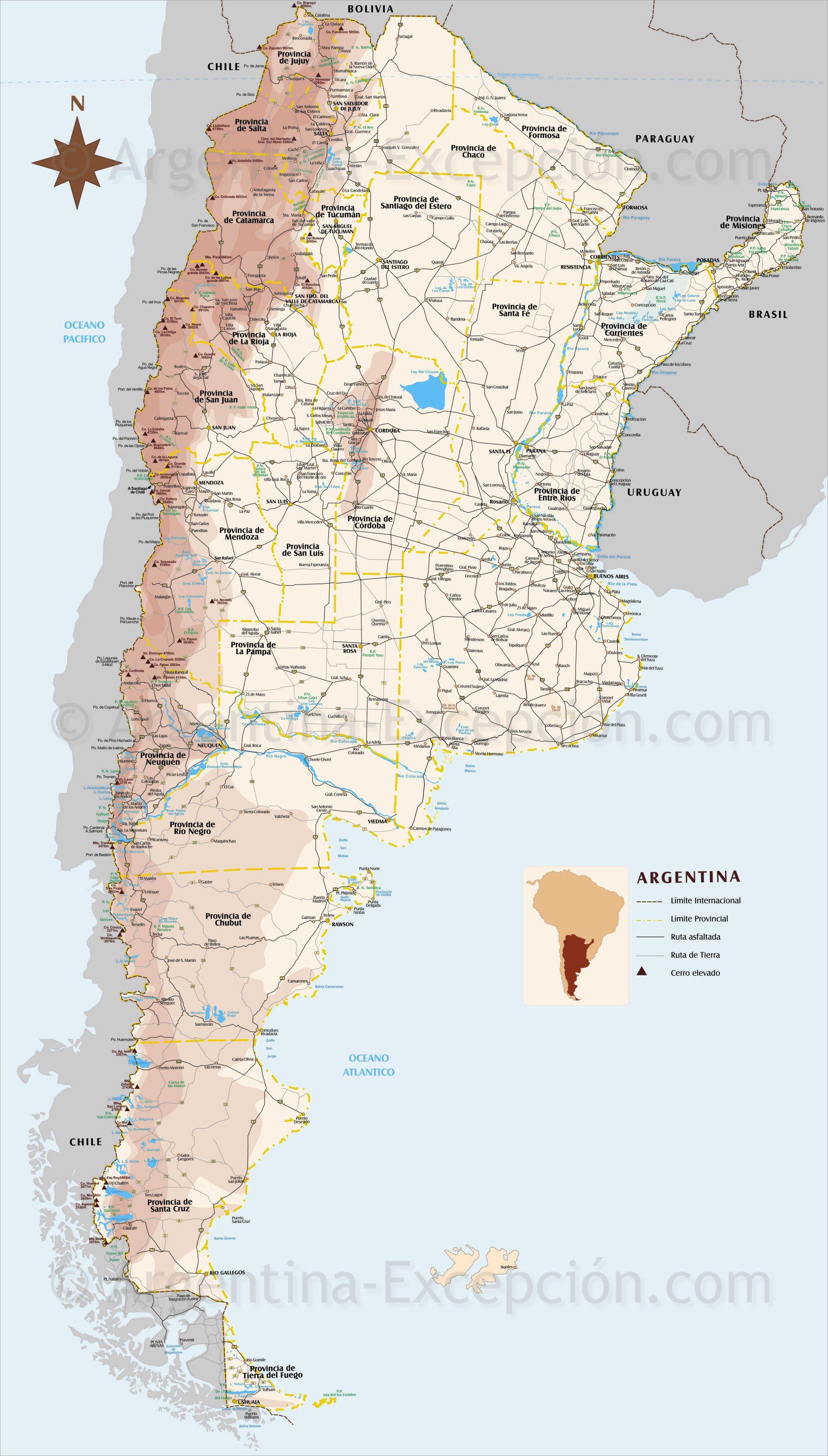 map of argentina_high resolution Argentine, Carte, Carte