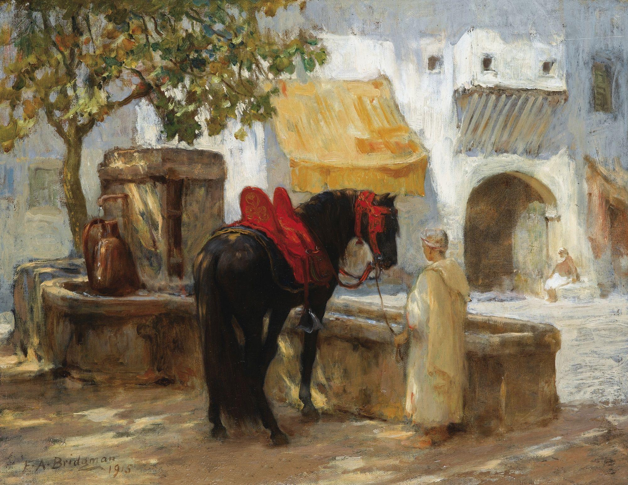 Frederick arthur bridgman horse near a fountain for Peinture satinee algerie prix