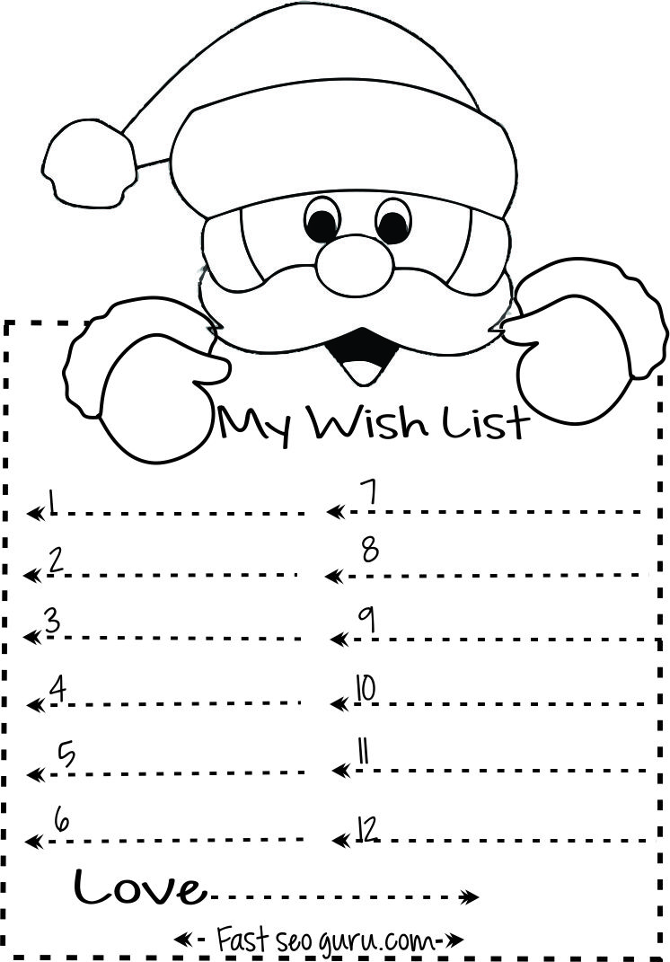 Print Out Christmas Wish List To Santa Write Template