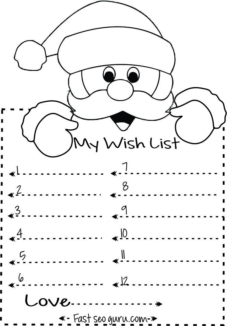 Print out christmas wish list to santa write template