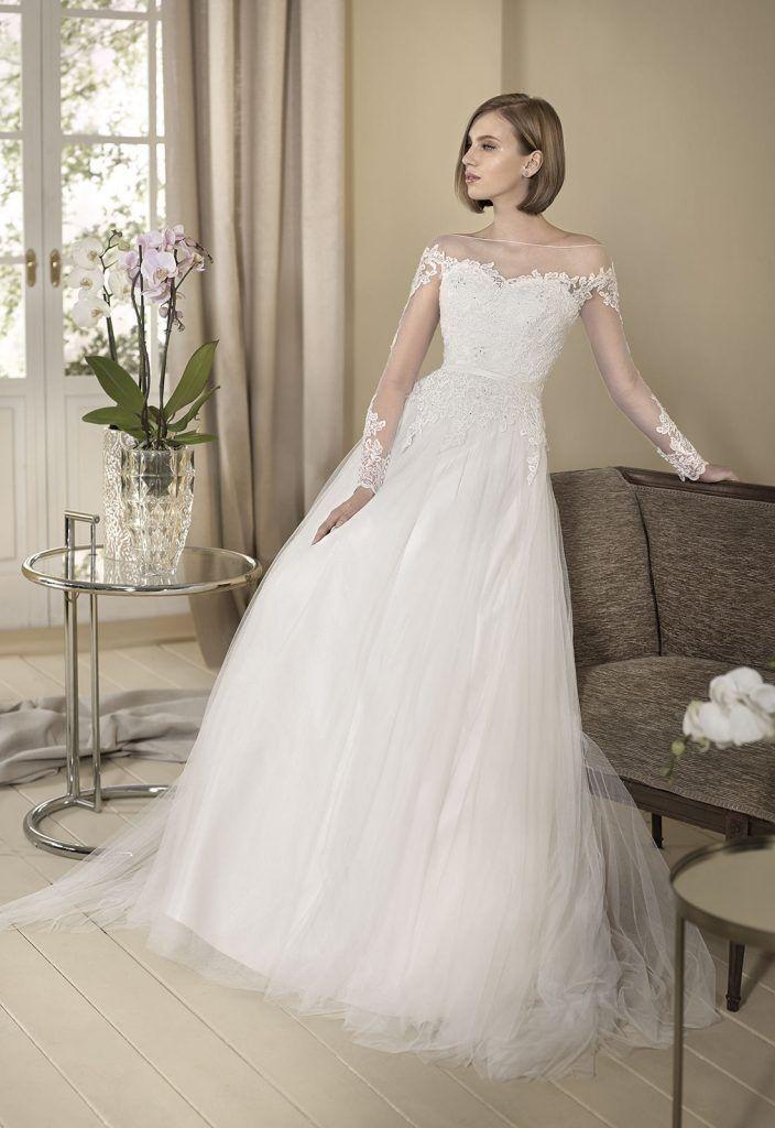 gerbera vestido de novia con falda en tul de seda y cuerpo en tul y