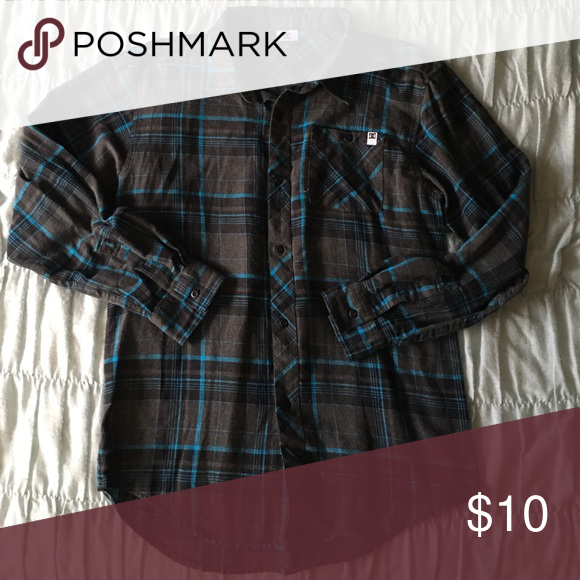 Long sleeve button down flannel Dark gray and blue patterned flannel w/ 6 buttons and 1 breast pocket, bought in boys section (XL) but fits women's size small/medium. Worn once in great condition, looks cute with leggings! DC Tops Button Down Shirts