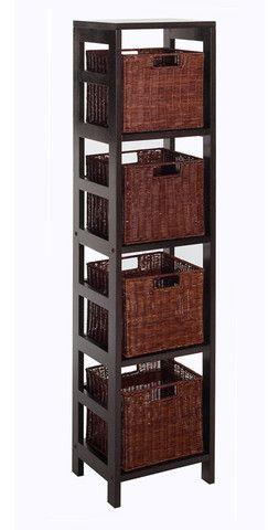 Winsome Wood 92814 Leo 5pc Storage Shelf With Basket Set Shelf