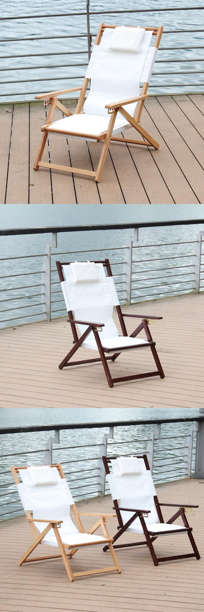 Adjustable and Foldable Reclining Beach Chair Chaise Lounger