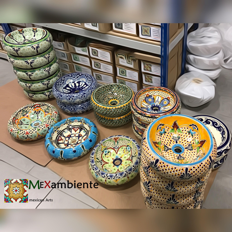 Formschöne Mexikanische Waschbecken Aus Keramik Mit Stilvollen Mustern    100% Handbemalt. Bei Mexambiente In
