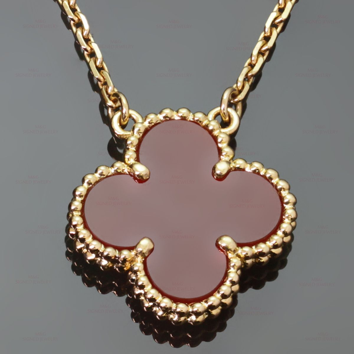 on cleef gold rose heart product alhambra chain pendant sweet arpels van