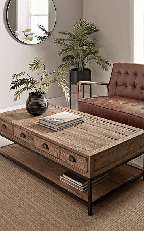 Reclaimed Oak Coffee Table In 2020 Oak Coffee Table Luxury Home Furniture Side Tables Uk