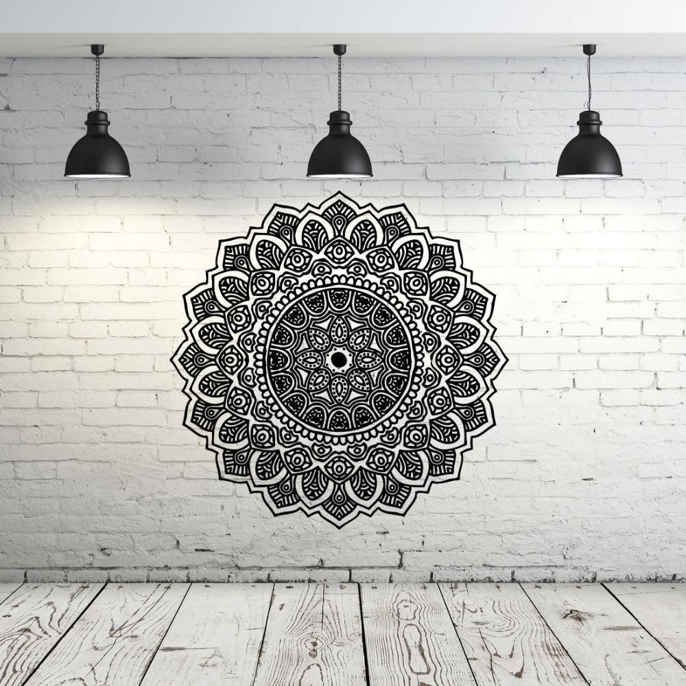 Wall decal yoga with moroccan pattern in gym pinterest