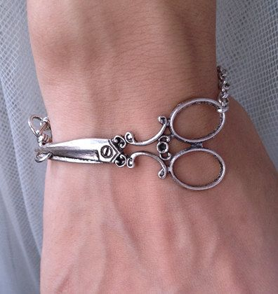 Hairstylist jewelry Antique Silver scissor bracelet by pier7craft