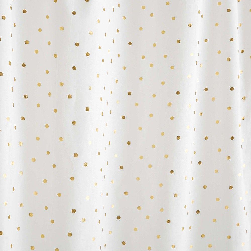 Rideau A Nouettes En Coton Blanc A Pois Dores 102x250cm Maisons Du