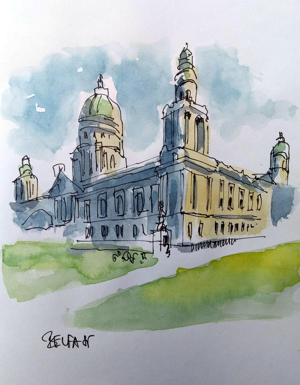 Belfast Northern Ireland Watercolor Architecture Building Art Architecture Sketch