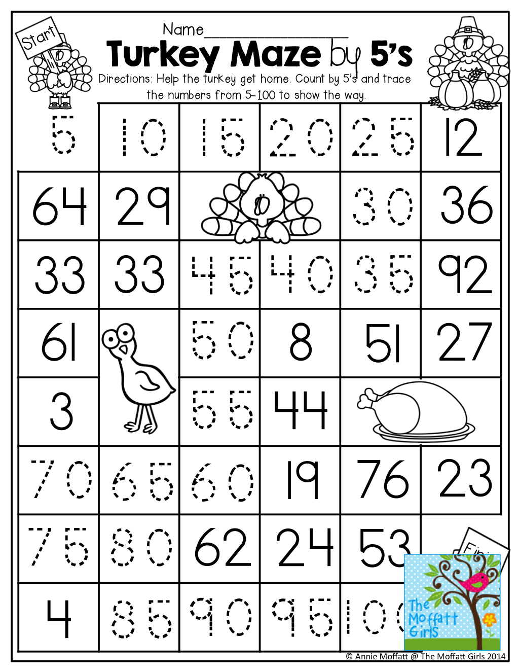 Count by 5\'s Worksheet by TRACING the path from the turkey to the ...