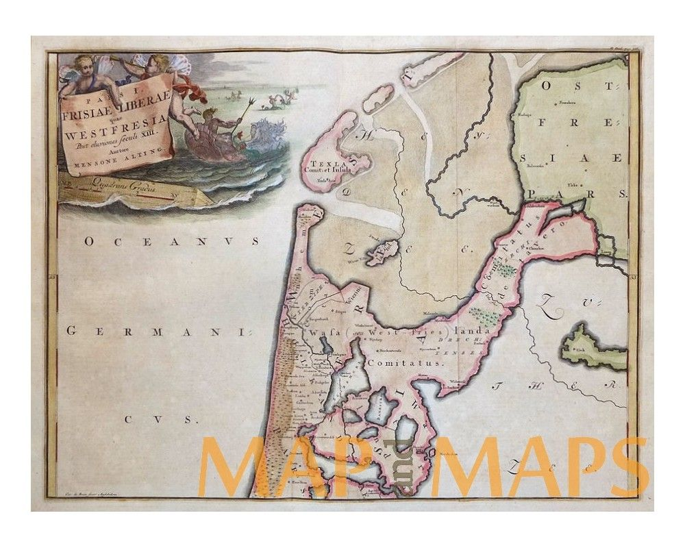 Frisiae Liberae Quae Old Map West Friesland By Alting 1725 Map