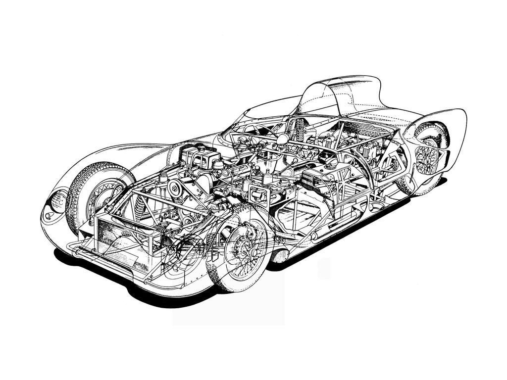 cutaway drawing from lotus eleven series i 1956 57 race cars Shelby Raptor cutaway drawing from lotus eleven series i 1956 57