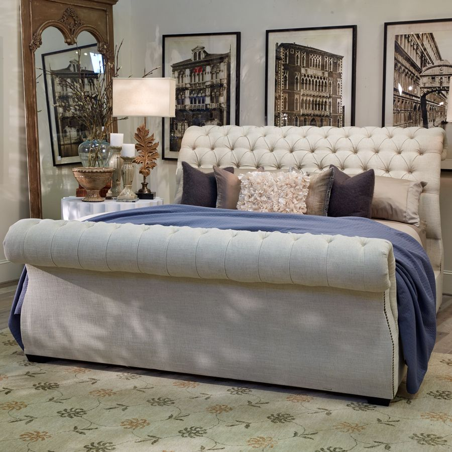 This Chic Upholstered Sleigh Bed Features A Luxurious Rolled