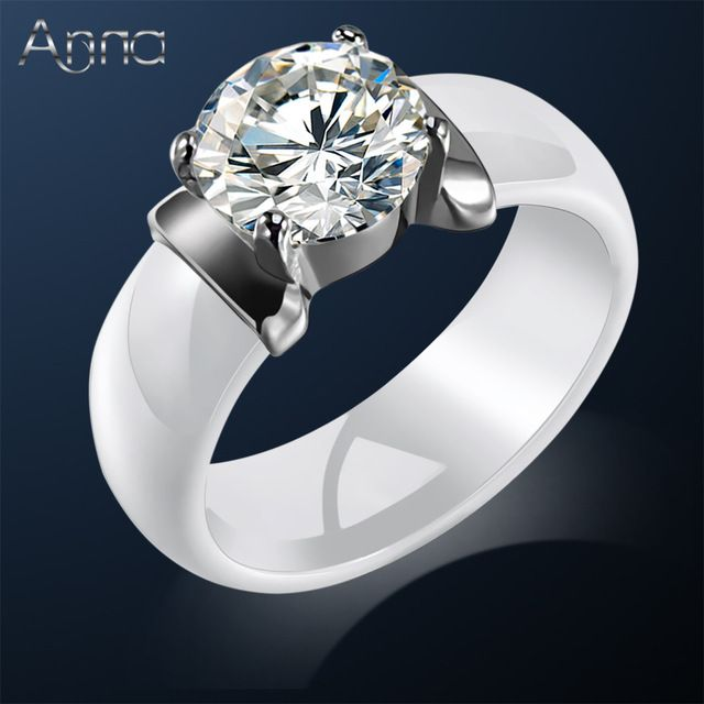 A N New Arrival Ceramic Rings For Women Huge Zircon Cabochon Setting Black White Wedding Cute