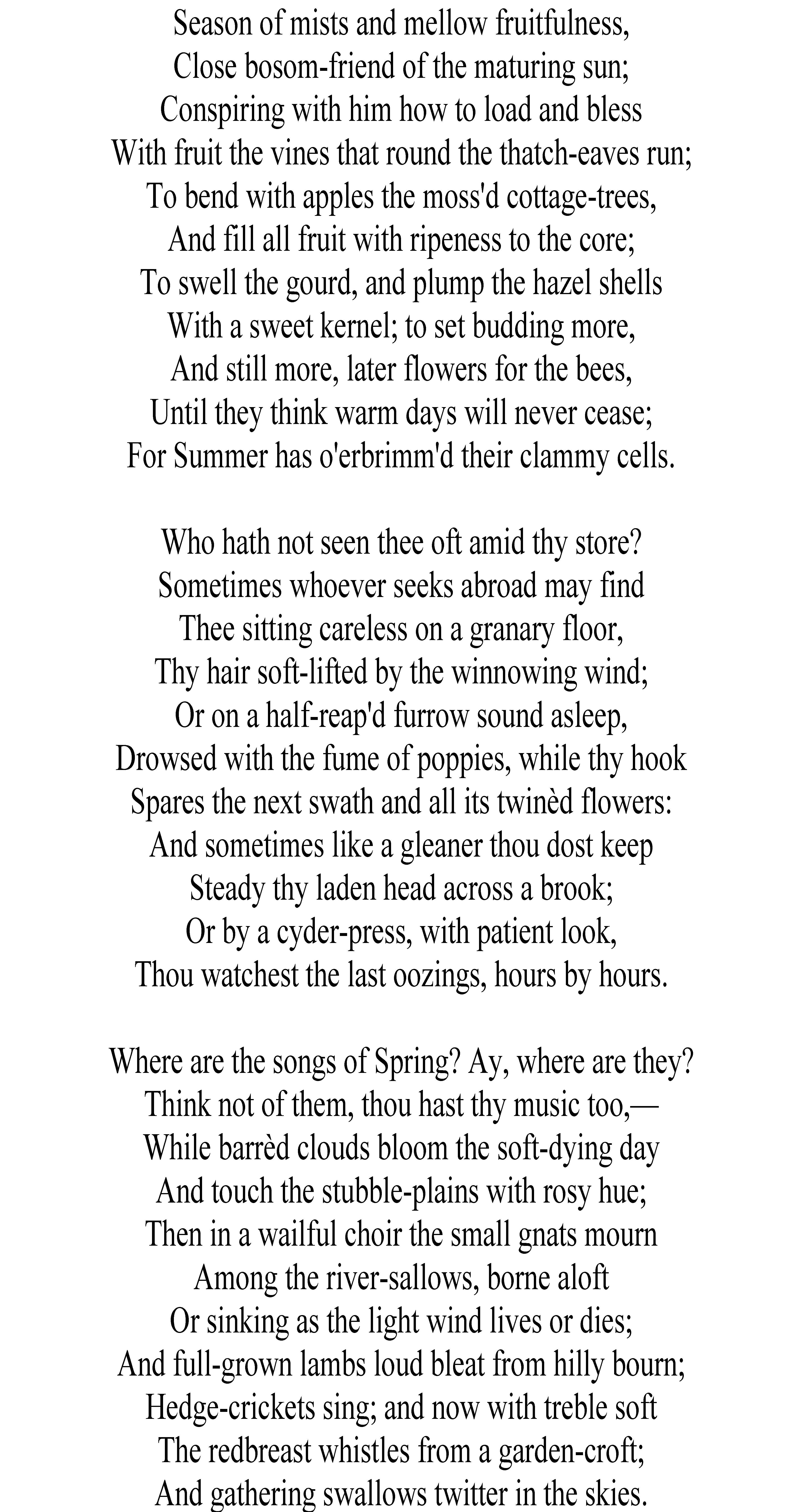 Ode To Autumn By John Keat Http Www Annabelchaffer Com Search Php Query Tassel Bookmarks Line Explanation Of The Poem Keats