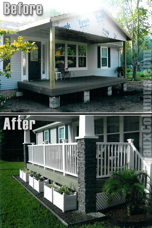 Porch Column Wraps For Quick Curb Appeal See Photos Manufactured Home Porch Mobile Home Porch Home Porch