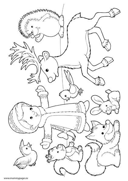 Winter Scene Girl With Animals In Snow Mummypages Ie Mummypages Ie Animal Coloring Pages Coloring Pages Winter Bird Coloring Pages