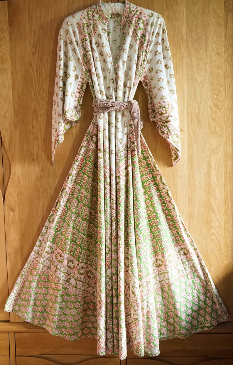 On Layaway Rare 70s Early Adini India Imports Indian Cotton Hand Block Print Floral Dress Goddess Festival Hippie Boho Maxi Dress Caftan Boho Maxi Dress Floral Print Dress Indian Cotton [ 1244 x 794 Pixel ]
