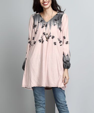 ddeef1c365a5 Look what I found on  zulily! Mauve Leaf V-Neck Boyfriend Tunic  zulilyfinds