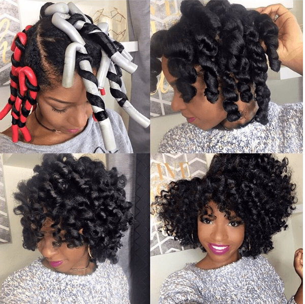 Attain A Stunning Flexi Rod Set On Medium Length To Long Length Natural Hair This Glamorous Look Is Natural Hair Styles Medium Length Hair Styles Hair Lengths