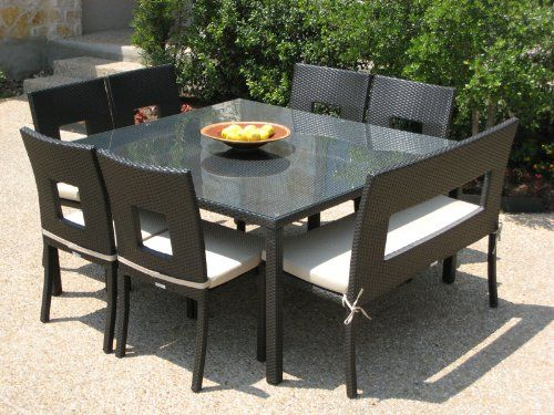 498db09348 Outdoor Patio Wicker Furniture New Resin 8 Pc Square Dining Table Set with  Chairs and Bench $1,890.00
