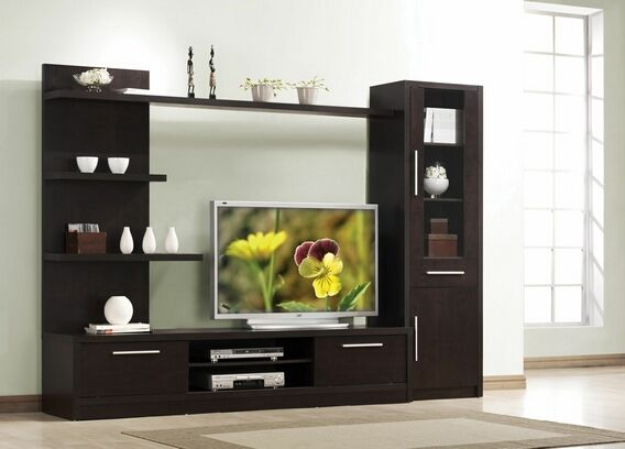 3 pc espresso finish wood modern styling tv entertainment center