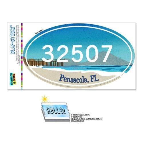 32507 Pensacola Fl Beach Pier Oval Zip Code Sticker