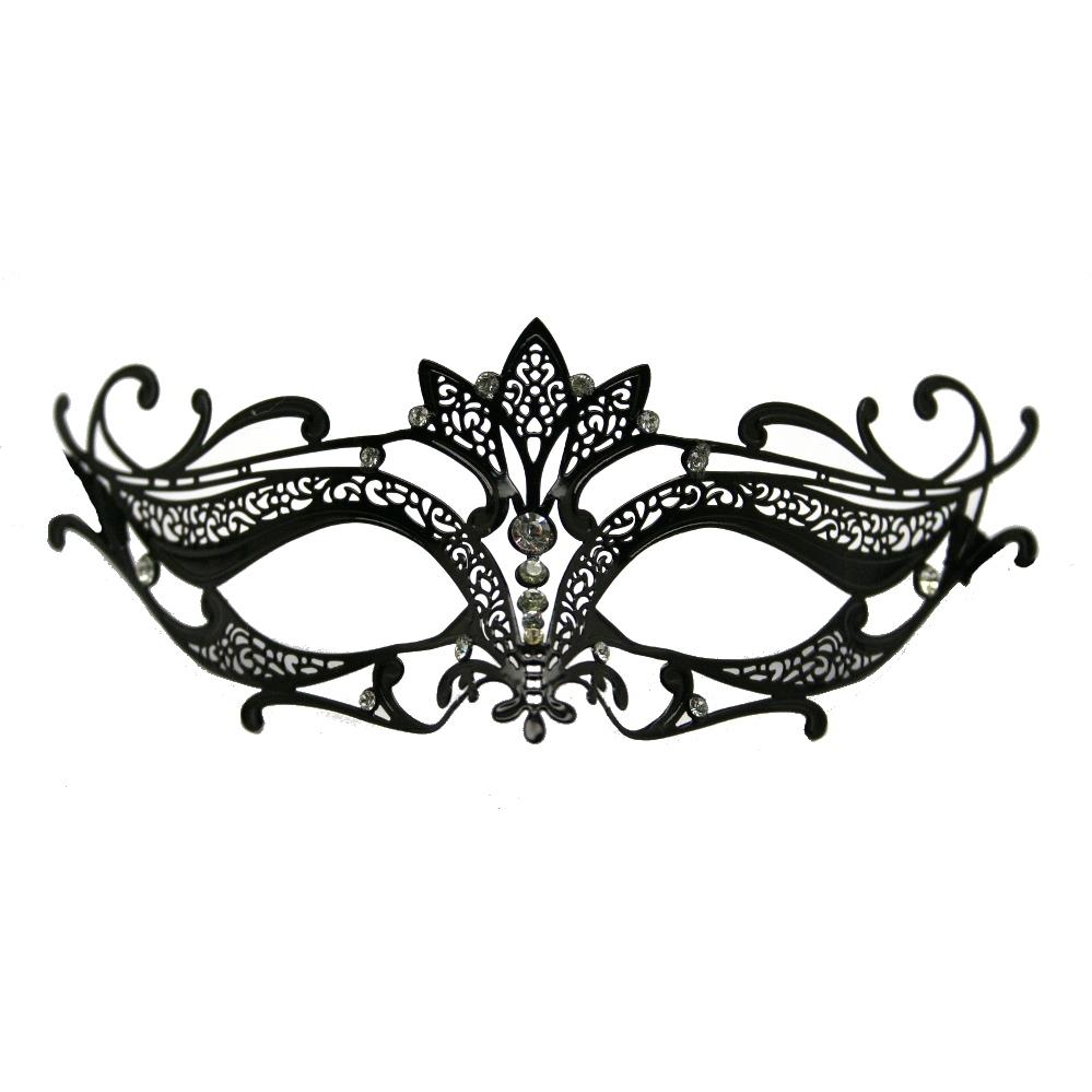 Black Metal Venetian Crown Top Mask Masquerade Mask Template