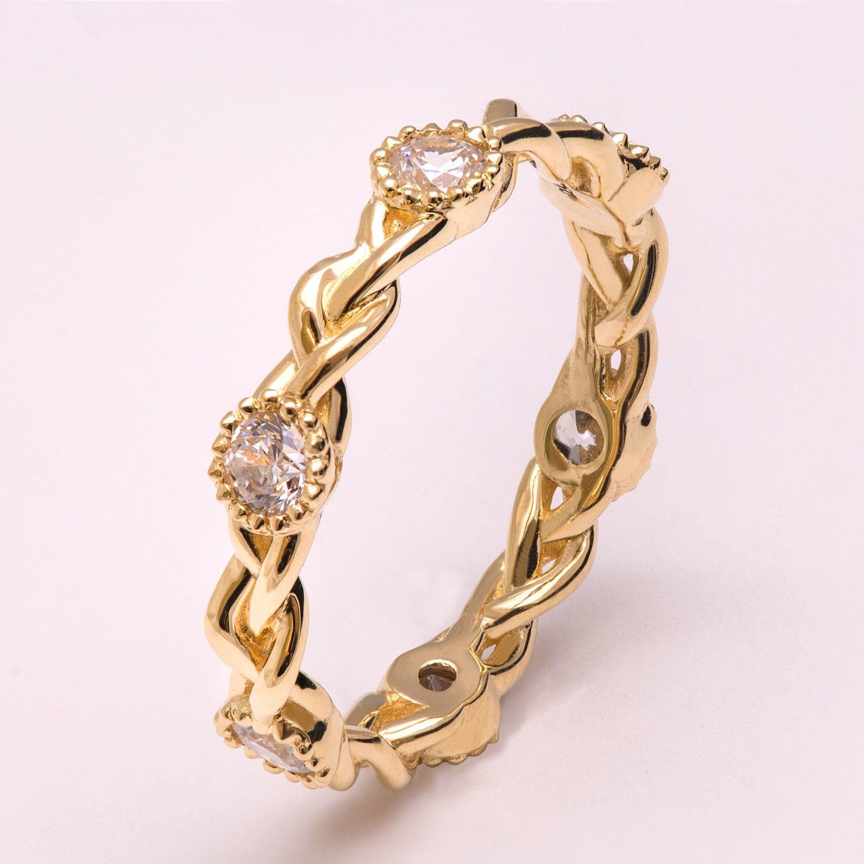 Braided moissanite engagement ring braided eternity ring celtic