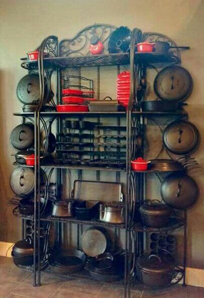 Cast Iron Stored Displayed On A Cast Iron Bakers Rack Genius