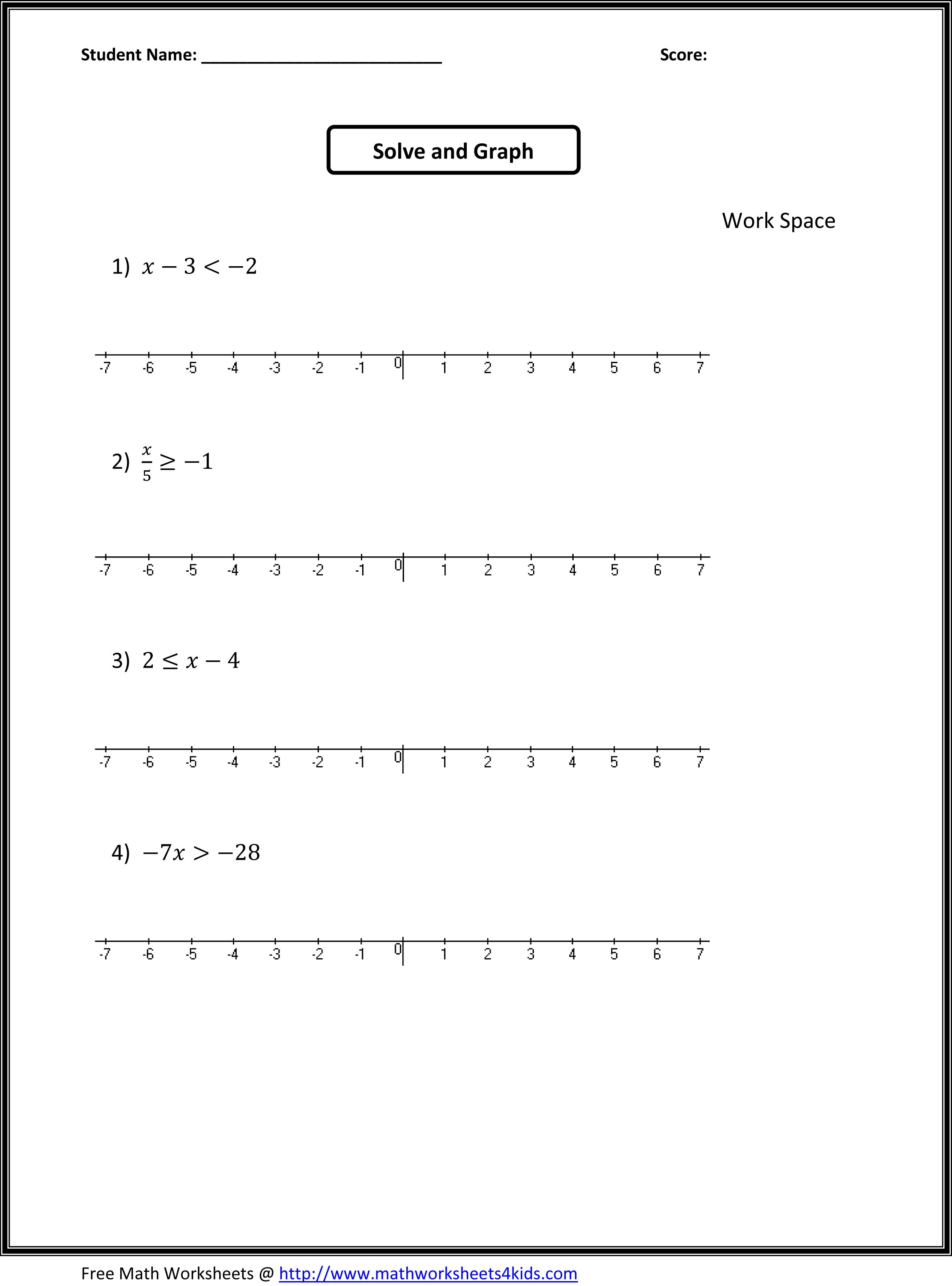 worksheet Solving And Graphing Inequalities Worksheet Pdf 7th grade algebra worksheets math places solve and graph the inequalities