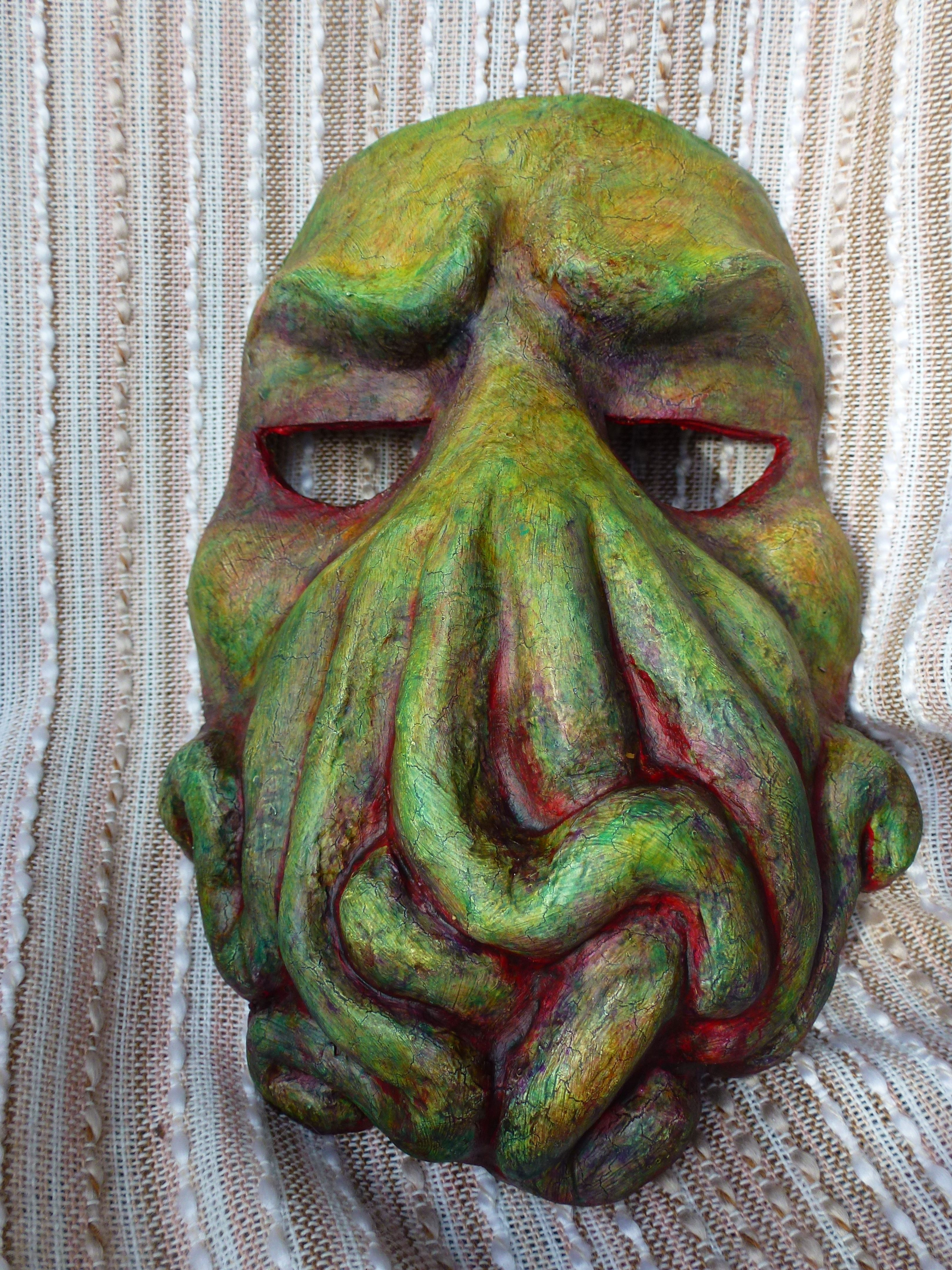 A particularly drowsylooking Cthulhu mask. Mask making