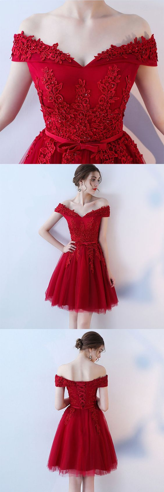 Red homecoming dress off the shoulder strap short prom dress back