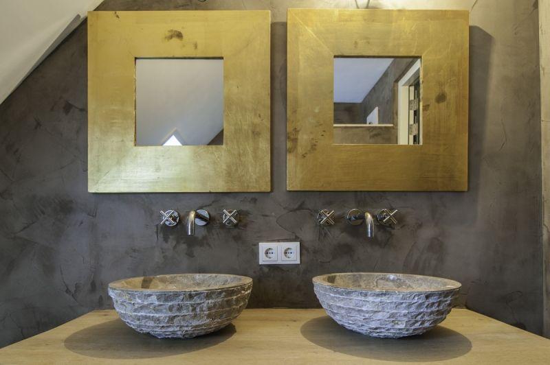 Betonnen Badkamer Muur : Betonstuc cire de beton beton cire betonlook muur huis