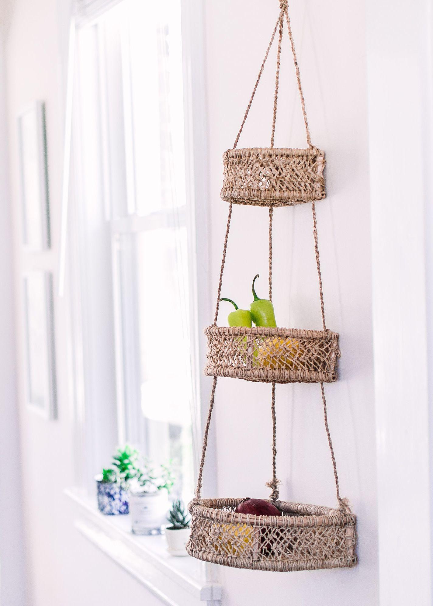 Etsy Half Moon Woven Hanging Fruit Basket Hanging Fruit Baskets